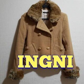 イング(INGNI)のINGNI ファー付き  ベージュピーコート Mサイズ(ピーコート)
