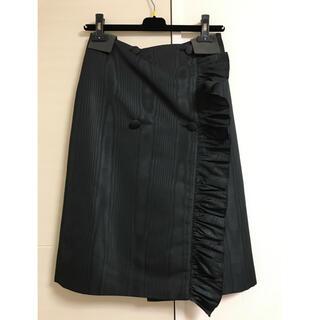 エムエスジイエム(MSGM)のMSGM スカート フリル 巻きスカート ブラック(ひざ丈スカート)