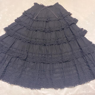 ピンクハウス(PINK HOUSE)のピンクハウス ドットチュールレース レイヤードスカート 黒(ロングスカート)
