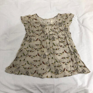 フィグロンドン(fig London)のフィグロンドン Fig London 鳥柄ブラウス ベージュ 定価1.5万(シャツ/ブラウス(半袖/袖なし))