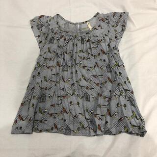 フィグロンドン(fig London)の新品 フィグロンドン Fig London 鳥柄 ブラウス ブルーグレー(シャツ/ブラウス(半袖/袖なし))
