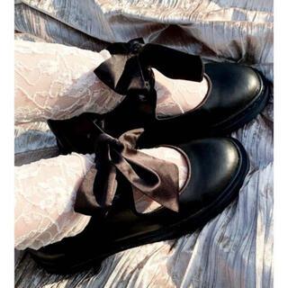 メリージェニー(merry jenny)のmeru様専用 merry jenny サテンリボンフラットシューズ L(ローファー/革靴)