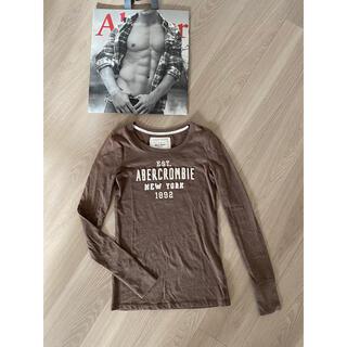 アバクロンビーアンドフィッチ(Abercrombie&Fitch)のアバクロ ロゴ Tシャツ 長袖 ブラウン(Tシャツ(長袖/七分))