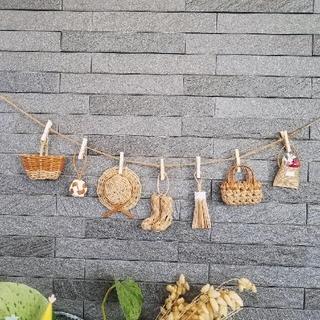 まー様用です。2セット★ミニチュアカゴのガーランド エコクラフト 壁飾り (雑貨)
