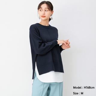 ジーユー(GU)のGUシャツテールコンビネーションセーター(長袖)ネイビーLサイズ(ニット/セーター)
