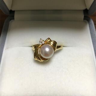 セイコー(SEIKO)のセイコー ダイヤモンド×パール リング K18YG 7.0mm 4.9g(リング(指輪))