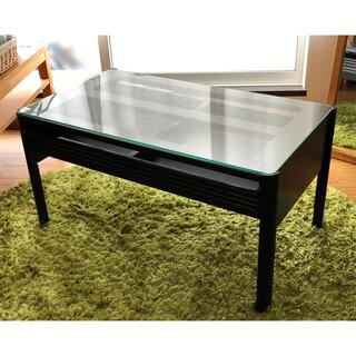 ガラストップ テーブル 黒 引き出し付【直接引き取りのみ】(ローテーブル)