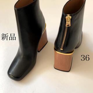 マルニ(Marni)の新品/36 MARNI マルニ リザードヒール バックジップ ブーツ(ブーツ)