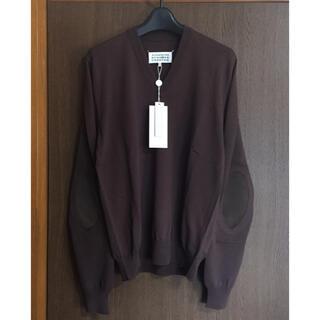マルタンマルジェラ(Maison Martin Margiela)のM新品 メゾン マルジェラ エルボーパッチ ニット メンズ セーター ブラウン(ニット/セーター)