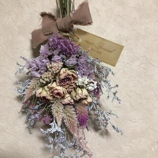 ♡No.172 white*pink ドライフラワースワッグ♡(ドライフラワー)