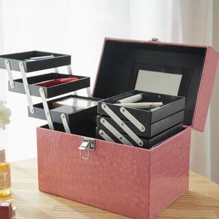 コスメボックス メイクボックス プロ仕様 クロコダイル調 大容量 ピンク 桃(メイクボックス)