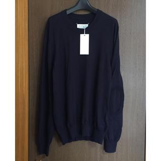 マルタンマルジェラ(Maison Martin Margiela)の濃紺XL新品 メゾン マルジェラ エルボーパッチ ニット メンズ ダークネイビー(ニット/セーター)