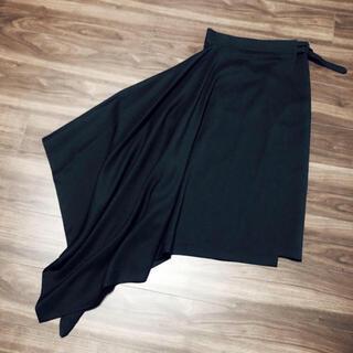 ハイク(HYKE)のhyke ロングスカート ハイク アシンメトリー 黒 巻きスカート(ロングスカート)