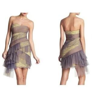 ビーシービージーマックスアズリア(BCBGMAXAZRIA)のBCBG ドレス ワンピース イエロー グレー(ミニワンピース)
