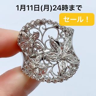 750 ホワイトゴールド ダイヤモンド 1.06 フラワー リング(リング(指輪))