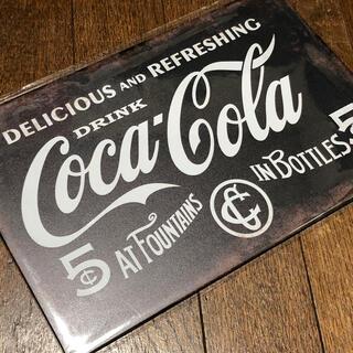 コカコーラ(コカ・コーラ)のコカコーラ ダークブルー ダメージデザイン ブリキ看板(ソフトドリンク)