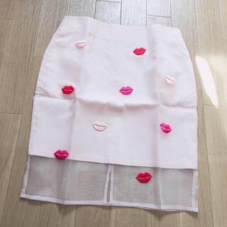 ハニーミーハニー(Honey mi Honey)のハニーミーハニー リップモチーフタイトスカート (ひざ丈スカート)