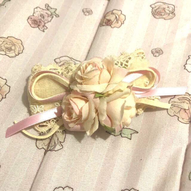 Innocent World(イノセントワールド)のピンクの薔薇とトーションレースのバレッタ レディースのヘアアクセサリー(バレッタ/ヘアクリップ)の商品写真