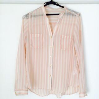 ジーユー(GU)のg.u. シフォン ストライプシャツ(シャツ/ブラウス(半袖/袖なし))