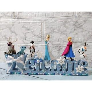 471 アナと雪の女王 アナ&エルサ&オラフ&サラマンダー ウェルカム オブジェ(置物)
