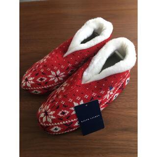ラルフローレン(Ralph Lauren)の未使用 ラルフローレンスリッパ モコモコスリッポン24㎝レディース 赤クリスマス(スリッパ/ルームシューズ)