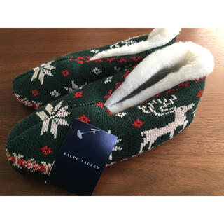 ラルフローレン(Ralph Lauren)の未使用 ラルフローレンスリッパ モコモコスリッポン24㎝レディース 緑クリスマス(スリッパ/ルームシューズ)