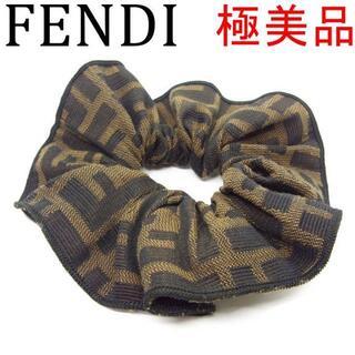 フェンディ(FENDI)のフェンディ 極美品 ロゴ ズッカ キャンバス シュシュ ヘアバンド ヘアゴム(ヘアゴム/シュシュ)