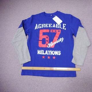 ニッセン(ニッセン)のタグ付き新品 長袖Tシャツ(160紺グレー)綿100%コットン 重ね着風 部屋着(Tシャツ/カットソー)