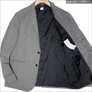 エンポリオアルマーニ(Emporio Armani)のJ5111 美品 エンポリオアルマーニ 黒タグ千鳥格子テーラードジャケット灰56(テーラードジャケット)