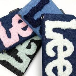 リー(Lee)の送料無料新品 ジーンズ生地使用手帳型スマホケース もこもこロゴ ネイビー×ピンク(iPhoneケース)