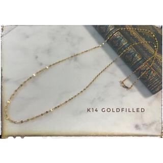14kgf ペタルチェーンロングネックレス 65cm キラキラゴールド シンプル(ネックレス)