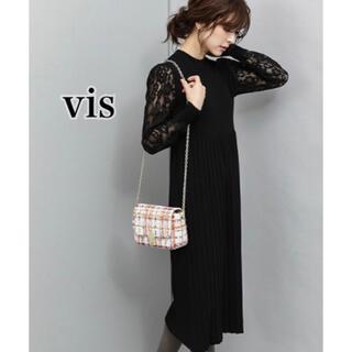 ヴィス(ViS)のViS 袖レースプリーツニットワンピース(ロングワンピース/マキシワンピース)