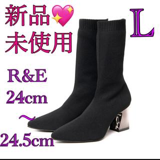 アールアンドイー(R&E)の新品未使用♡R&Eソックスブーツ ソックスミドルブーツ24cm24.5cm黒(ブーツ)