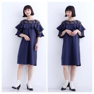 メルロー(merlot)の新品❤️merlot plus デコルテレースラッフル袖付ワンピース(ひざ丈ワンピース)