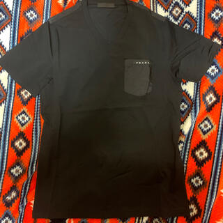 プラダ(PRADA)のPRADAナイロンポケットブラックバッジTシャツ(Tシャツ/カットソー(半袖/袖なし))
