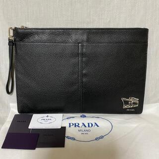 プラダ(PRADA)の新品 本物 正規品 PRADA プラダ メンズ レザー クラッチバッグ 黒(セカンドバッグ/クラッチバッグ)