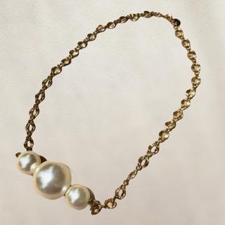 アネモネ(Ane Mone)のAnemone 3連パール ゴールドチェーン ネックレス(ネックレス)