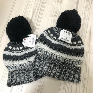 ザラキッズ(ZARA KIDS)の新品未使用!【ZARA】ザラキッズ ニット帽子 2枚セット! キッズ 親子ペア(帽子)