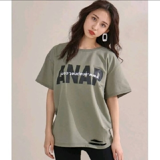 アナップ(ANAP)の【美品】ANAP アナップ Tシャツ ダメージ ロゴ カーキ(Tシャツ(半袖/袖なし))