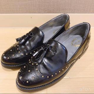 ランダ(RANDA)の*新品未使用*RANDA ローファー タッセル スタッズ付 黒 22cm(ローファー/革靴)