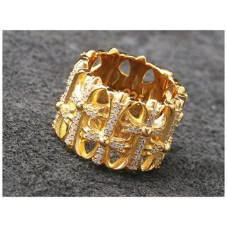 クロムハーツ(Chrome Hearts)のシルバー925素材 ゴールド クロスリング 22k gp ジルコニア(リング(指輪))