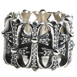 クロムハーツ(Chrome Hearts)のシルバー925素材 CZストーン クロスリング 十字架 ジルコニア パヴェダイヤ(リング(指輪))