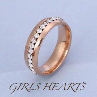 送料無料14号ピンクゴールドスーパーCZダイヤステンレスフルエタニティリング指輪(リング(指輪))