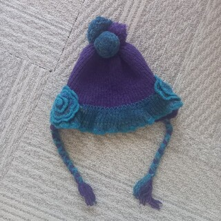 アナスイミニ(ANNA SUI mini)の美品アナスイミニ☆ニットの帽子紫系(帽子)