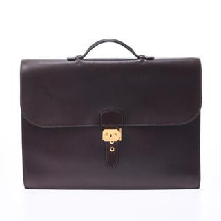 エルメス(Hermes)のエルメス  サックアデペッシュ41 ブリーフケース ビジネスバッグ ダークブラウ(ビジネスバッグ)