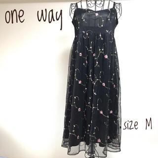 ワンウェイ(one*way)のワンウェイ 花柄 ブラック ワンピース one way レディース 黒(ひざ丈ワンピース)