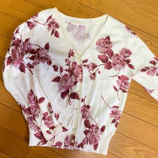 プロポーションボディドレッシング(PROPORTION BODY DRESSING)のプロポーション カーディガン 薔薇 花柄 ピンク 白 vネック(カーディガン)