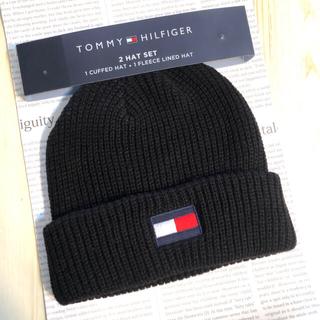 TOMMY HILFIGER - トミーヒルフィガー ロゴ 帽子 ニット帽 新品 ニットキャップ ビーニー 黒