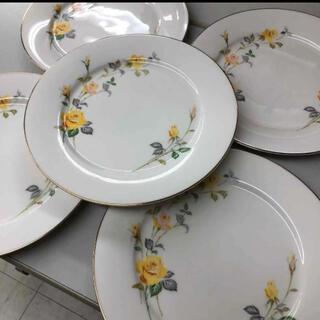 ノリタケ(Noritake)のオールド ノリタケ お皿 Rose 薔薇 ローズ 黄色 5枚セット(食器)