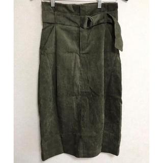 チャオパニック(Ciaopanic)のコーデュロイスカート カーキ ベルト付き(ロングスカート)
